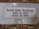 """Sarah Jane """"Jane"""" <I>White</I> Atchison"""