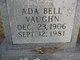 Profile photo:  Ada Bell Vaughn