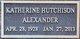 Profile photo:  Katherine <I>Hutchinson</I> Alexander