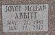Profile photo:  Joyce <I>McLean</I> Abbitt