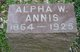 Profile photo:  Alpha W. Annis