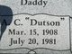 "Profile photo:  A C ""Dutson"" Antee"