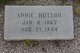 Profile photo:  Annie <I>Jowers</I> Hutson