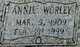 Profile photo:  Annie <I>Worley</I> Davis
