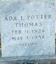 Profile photo:  Ada L. <I>Potter</I> Thomas