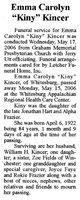 """Emma Caroline """"Kiny"""" <I>Hart</I> Kincer"""