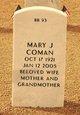 Mary Jane <I>Odenbrett</I> Coman