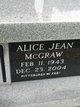 Profile photo:  Alice Jean McGraw