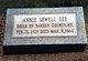 Annie Ophelia <I>Sewell</I> Lee