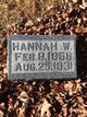 "Profile photo:  Johannah William """"Hannah"", ""Jane"""" <I>Tibbett</I> Mallett"