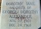 Profile photo:  Dorothy Jane Alexander