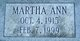 Profile photo:  Martha Ann <I>Hinson</I> Rector