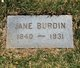 "Mary Jane ""Jennie"" <I>Huff</I> Burdin"