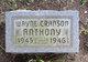 Profile photo:  Wayne Cranson Anthony