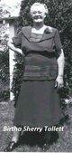 Profile photo:  Bertha Elvira <I>Sherrill</I> Tollett