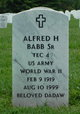 Profile photo:  Alfred H Babb, SR