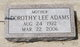 Dorothy L. <I>Lunsford</I> Adams