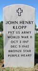 "Profile photo: Pvt John Henry ""Buddy"" Klopp"
