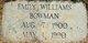 Emily <I>Williams</I> Bowman