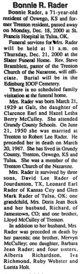 Bonnie Ruth <I>McCulley</I> Rader