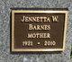 Profile photo:  Jennetta <I>Woodard</I> Barnes