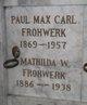 Profile photo:  Paul Max Carl Frohwerk