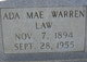 Profile photo:  Ada Mae <I>Warren</I> Law