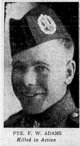 Profile photo: Pvt Frederick William Adams