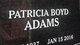 Profile photo:  Patricia Lane <I>Boyd</I> Adams