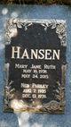 Mary Jane Ruth <I>Campbell</I> Hansen
