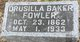 Profile photo:  Drusilla <I>Nagle</I> Baker Fowler