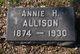 Profile photo:  Annie <I>Hamilton</I> Allison