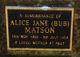 Alice Jane <I>Kilmister</I> Matson