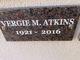 Profile photo:  Vergie Marie <I>Atkins</I> Atkins