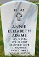Profile photo:  Annie Elizabeth Adams