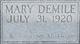 Profile photo:  Mary Demile <I>Amos</I> Addington