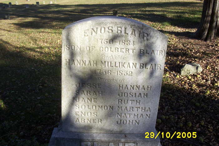 Hannah Millikan Blair (1756-1852) - Find A Grave Memorial