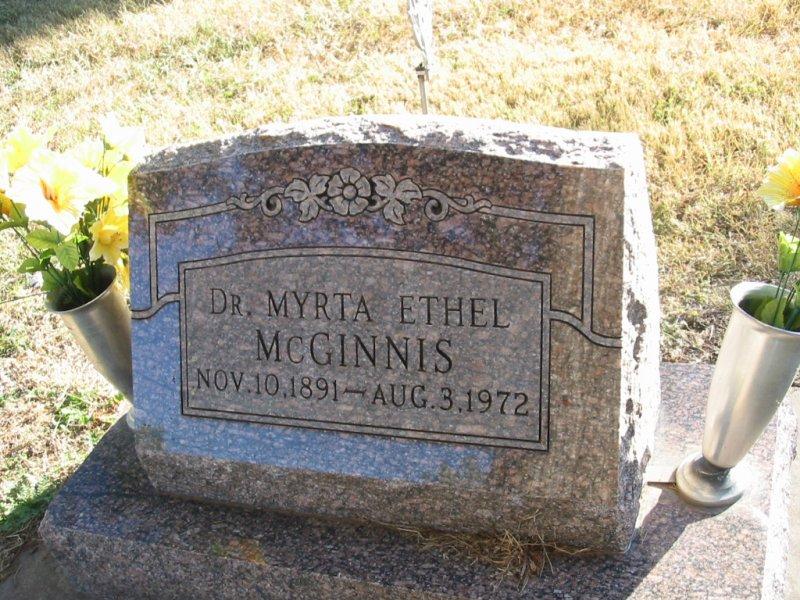 Dr Myrta Ethel McGinnis