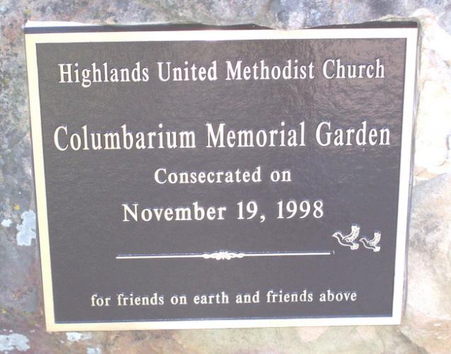 Highlands United Methodist Church Columbarium
