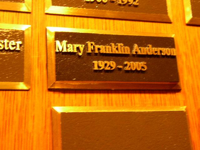 Mary <i>Franklin</i> Anderson