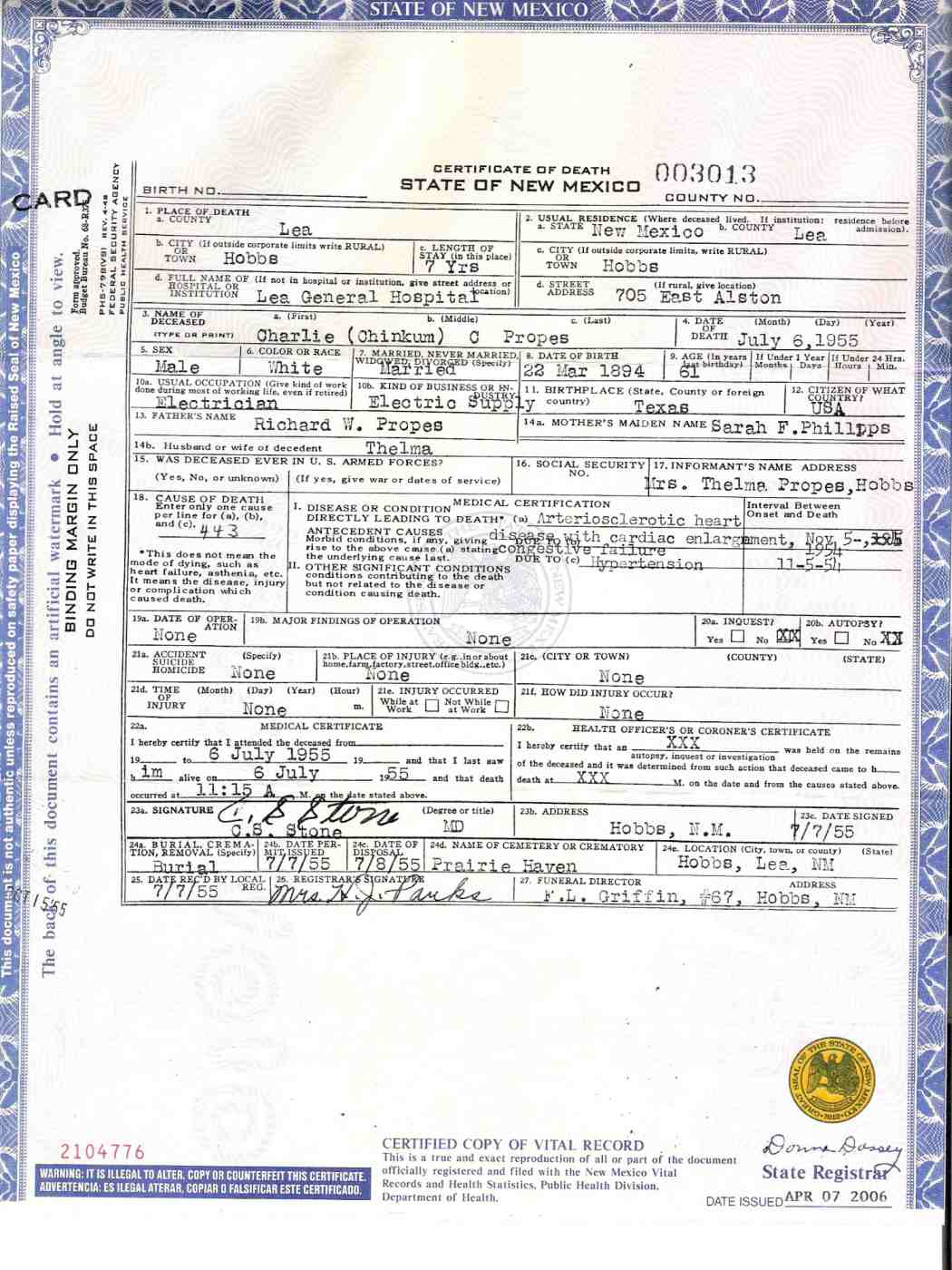 Chinkum charlie propes 1894 1955 find a grave memorial chinkum charlie propes death certificate 1betcityfo Choice Image