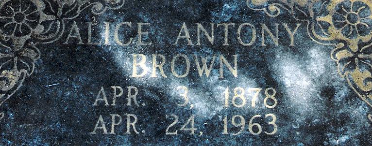 Alice Augusta <i>Antony</i> Brown