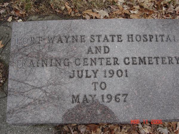Fort Wayne State Hospital Cemetery