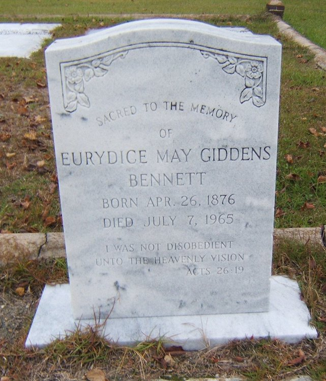 Eurydice May <i>Giddens</i> Bennett