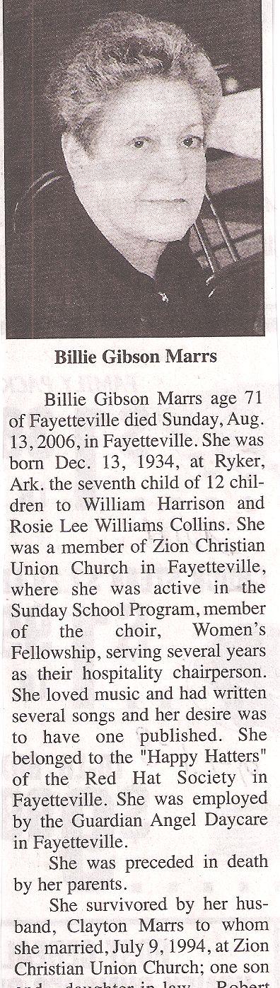 Billie <i>Collins</i> Marrs