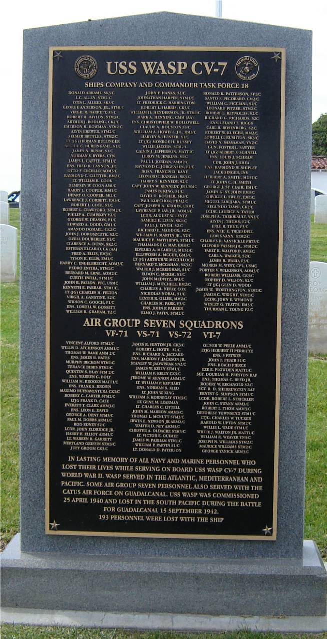 USS Wasp CV-7 Memorial
