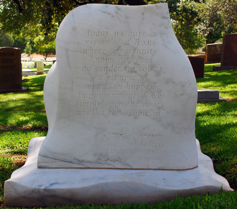 Texas Gov. Ann Richards's grave marker in the Texas State Cemetery, Austin, Texas, reverse. Quote comes from her 1991 inaugural address. Image from Findagrave.com