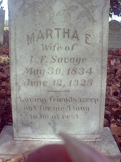 Martha Pat Elizabeth <i>Downing</i> Savage