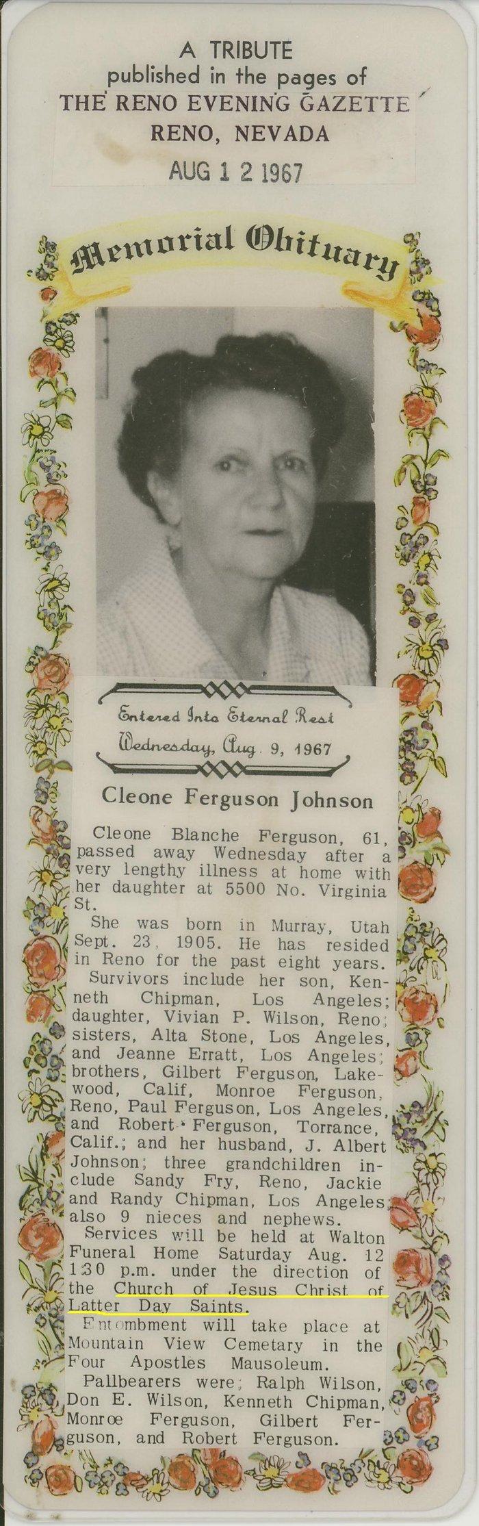 Cleone Blanche Ferguson (1905-1967) - Find A Grave Memorial
