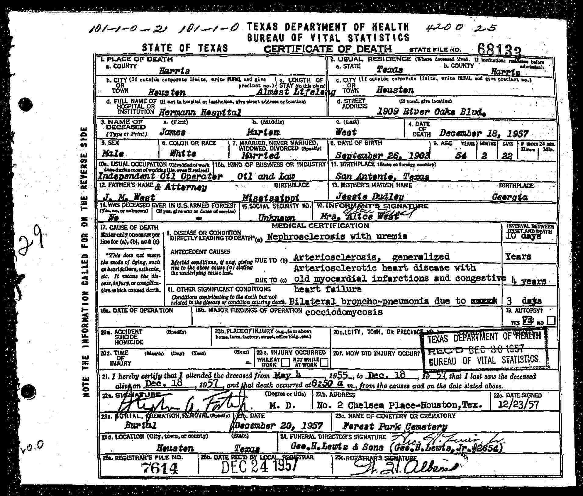 James marion silver dollar jim west jr 1903 1957 find a wests death certificate aiddatafo Gallery
